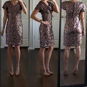 NWT black pink silver sequin dress